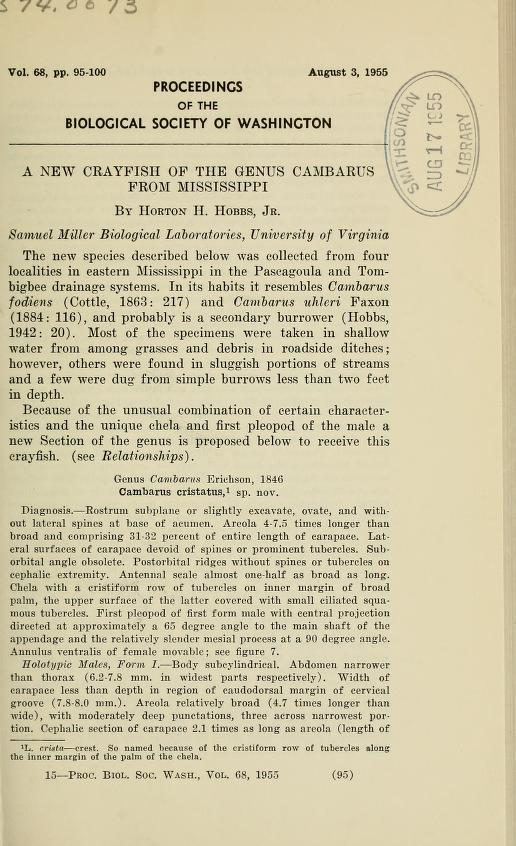 A new Crayfish of the genus <i>Cambarus</i> from Mississippi